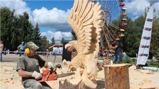 Amazing Fastest Skill Wood Carving With Chainsaw - Extreme Woodworking Skills
