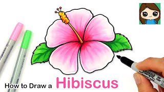 How to Draw a Hibiscus Flower Easy 🌺