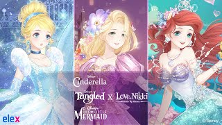 Cinderella, The Little Mermaid, & Tangled x Love Nikki Crossover