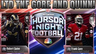 LIMITED TIME FRANK GORE AND ROBERT QUINN! THURSDAY NIGHT FOOTBALL PROMO! | MADDEN 18 ULTIMATE TEAM