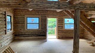 Amish Log Cabin Interior, Assembled In 1 Week, New York