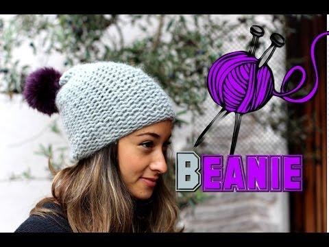 Mütze stricken lernen für Anfänger - Beanie / Wollmütze mit Bommel - Anleitung - Tutorial / DIY