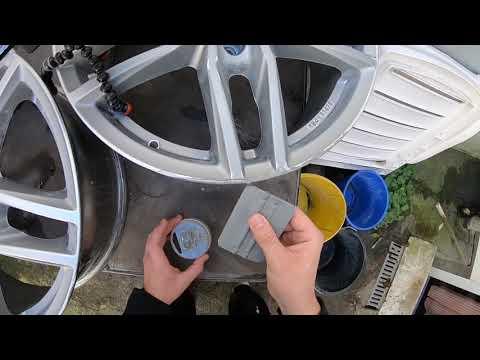 Auto Felge reparieren mit Alu Spachtel zweikomponentiger Polyestermetallspachtel benutzen Anleitung