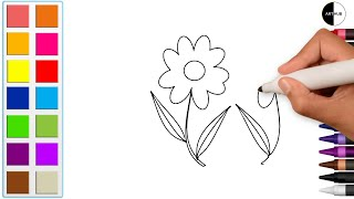 How To Draw Flowers Coloring Pages | Flowers Bouquet | Step By Step