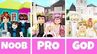 ROBLOX NOOB vs PRO vs GOD FAMILY HOUSE in BLOXBURG