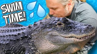 SWIMMING WITH MY HUGE PET ALLIGATOR!! | BRIAN BARCZYK