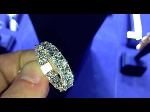 square emerald cut diamond eternity band with square diamonds from mike nekta