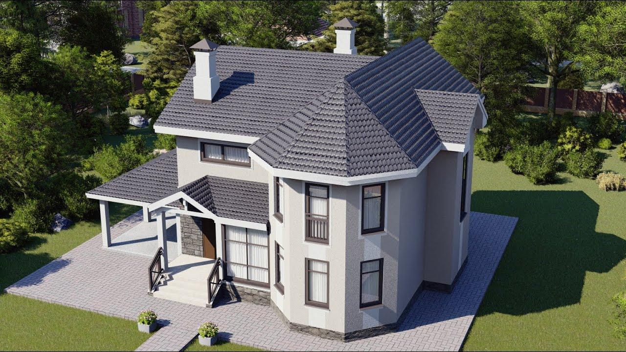 Двухэтажный проект дома с эркером и гаражом-навесом