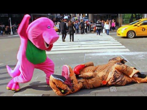 Barney VS T-Rex Epic Fight Prank In NYC!