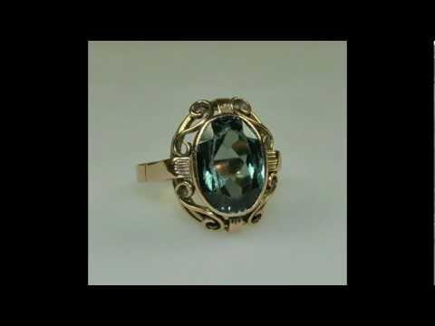 YuMostar: Vintage 585 Rose- Rotgold Ring mit grünem Stein Gr: 19,5
