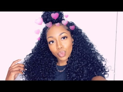 How to finesse a half wig pt. 2 dominican curly half up half down look 3aefa0e12