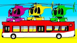 Learn Color Car on Bus & Helicopter in Spiderman Cars Cartoon for Kids w Colors for Children Video