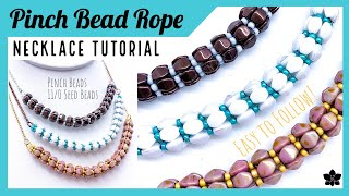 ✨ PINCH BEAD ROPE Beaded Necklace Tutorial ✨Jewelry Making, Seed Beads ✨Easy Beading Pattern