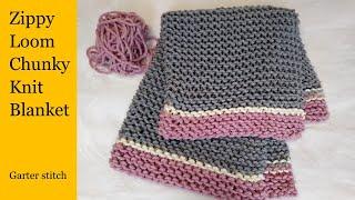 Zippy Loom DIY Chunky Knit Blanket, Garter Stitch