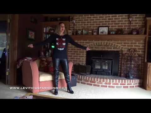 KNOW JESUS AND BLACK LEATHER THIGH BOOTS