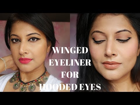 HOW TO APPLY THE PERFECT WINGED EYELINER FOR HOODED EYES | EYELINER FOR BEGINNERS 2018