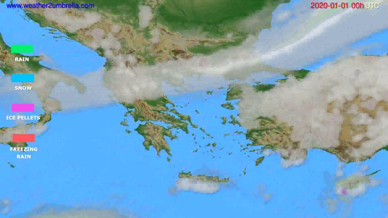 Precipitation forecast Greece // modelrun: 00h UTC 2019-12-31