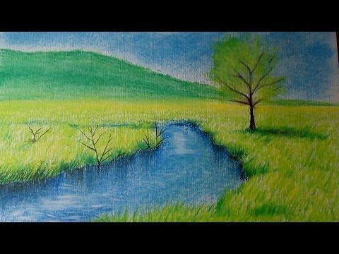 Como dibujar un paisaje al pastel paso a paso, dibujo de un paisaje