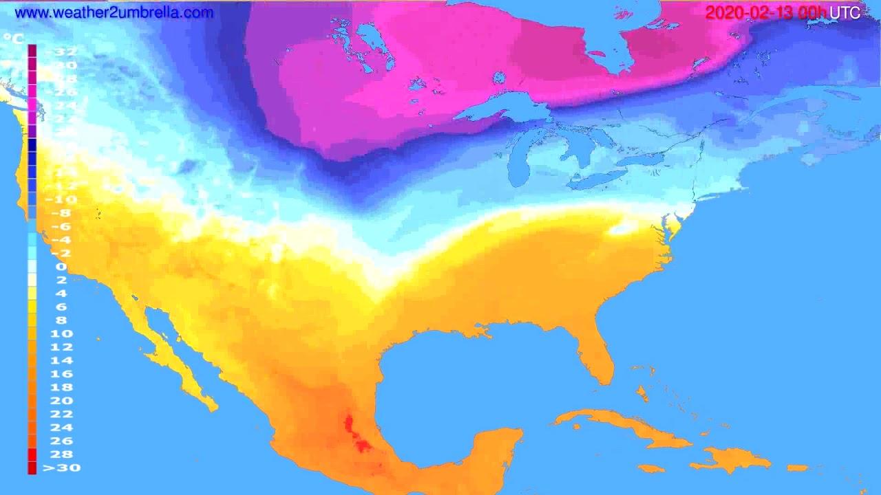 Temperature forecast USA & Canada // modelrun: 00h UTC 2020-02-12
