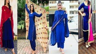 Plain Royal Blue Suits With Contrast Dupatta Designs||Royal Blue Punjabi Suits With Contrast Dupatta