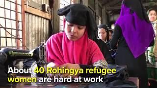 字幕付きバングラデシュで新しい生活を縫うロヒンギャ難民女性