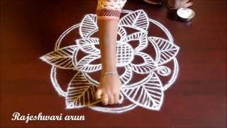 creative flower rangoli designs without dots || simple kolam || easy muggulu