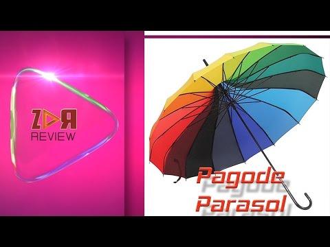 Klare Regenschirm Regenbogen Pagode Parasol Jahrgang mit langem Griff