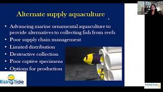 Challenges and Opportunities in Sustainable Aquaculture – the Rising Tide Perspective. – Dr. Judy St. Leger – MACNA 2021