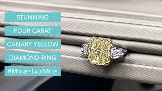 Stunning Four Carat Canary Yellow Diamond Ring