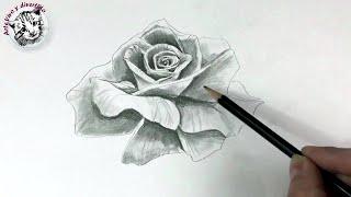 Como Dibujar Una Rosa Realista Con Un Solo Lapiz