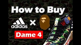 How to Buy adidas X BAPE Dame 4 I Camo Shoes I UnPlug I Vlog