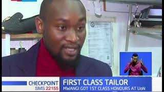 First-class graduate earning a living as a tailor
