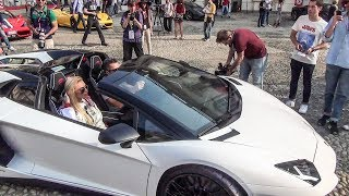 Supercars High Revs and Loud Accelerations Leaving Cars & Coffee Torino, Italy. June 2017