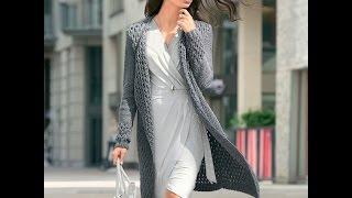 Женское Пальто, Связанное Спицами 2017 /Women