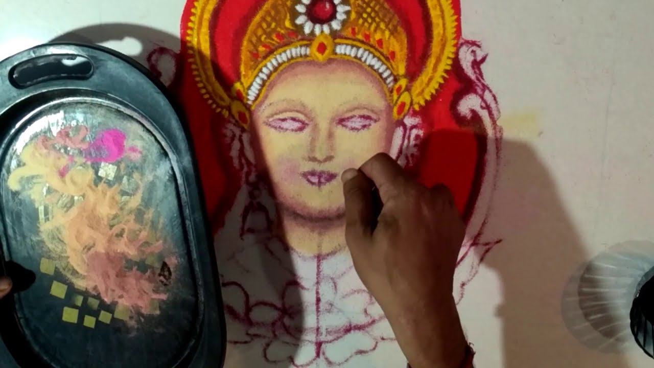 laxmi goddess portrait rangoli design by jeet rangoli