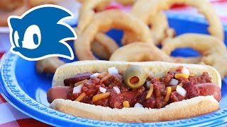 SONIC CHILI DOGS WITH GOLD ONION RINGS - NERDY NUMMIES