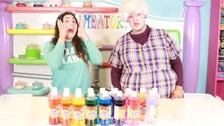 3 COLORS OF GLUE SLIME CHALLENGE WITH MY GRANDMA BUURDA ~ Slimeatory #412