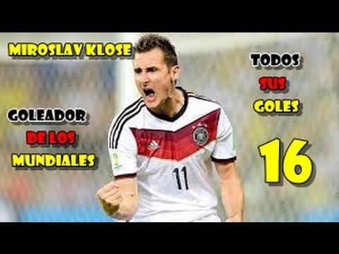 Los 16 goles de Klose en mundiales.