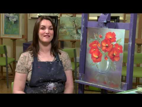 Poppies in Glass floral oil Painting tutorial  - Paint With Maz Online Class PREVIEW