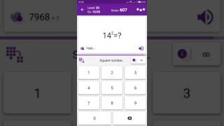 Math Tricks - Training mode - square numbers beween 10 and 19 - level 020 (Number Keyboard)