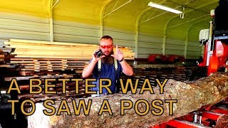 NO SHORTCUTS HERE, THE PROPER WAY TO SAW-MILL A POST FOR THE TIMBER FRAME BARN