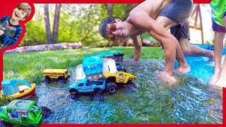 MONSTER TRUCKS For Kids BACKYARD WATERPARK!