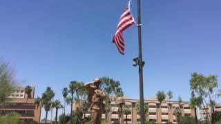 State and National Flag flying Half Mast Arizona