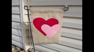 Valentines Day Burlap Garden Flag
