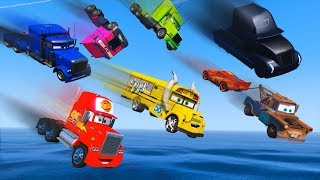 Cars Party Trucks Mack Gale Beaufort Miss Fritter Truck Jerry - McQueen And Friends