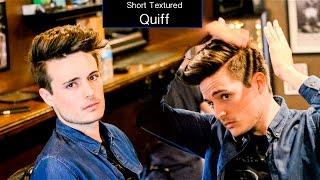 Mens Haircut & Hairstyle   Short Textured Quiff Hair Tutorial
