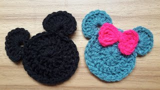 How To Crochet Mickey & Minnie Mouse Applique