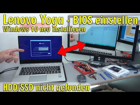 Lenovo Yoga Notebook UEFI Bios einstellen - Windows 10 installieren von USB-Stick - [4K Video]