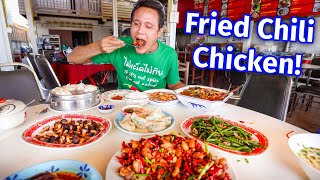 Street Food Tour - FRIED CHILI CHICKEN!! 🌶️  Giant Chinese Food at the GOLDEN TRIANGLE!