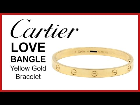 ▶ Cartier Love Bangle, 18k Yellow Gold, REVIEW Ladies Bracelet – B6035517